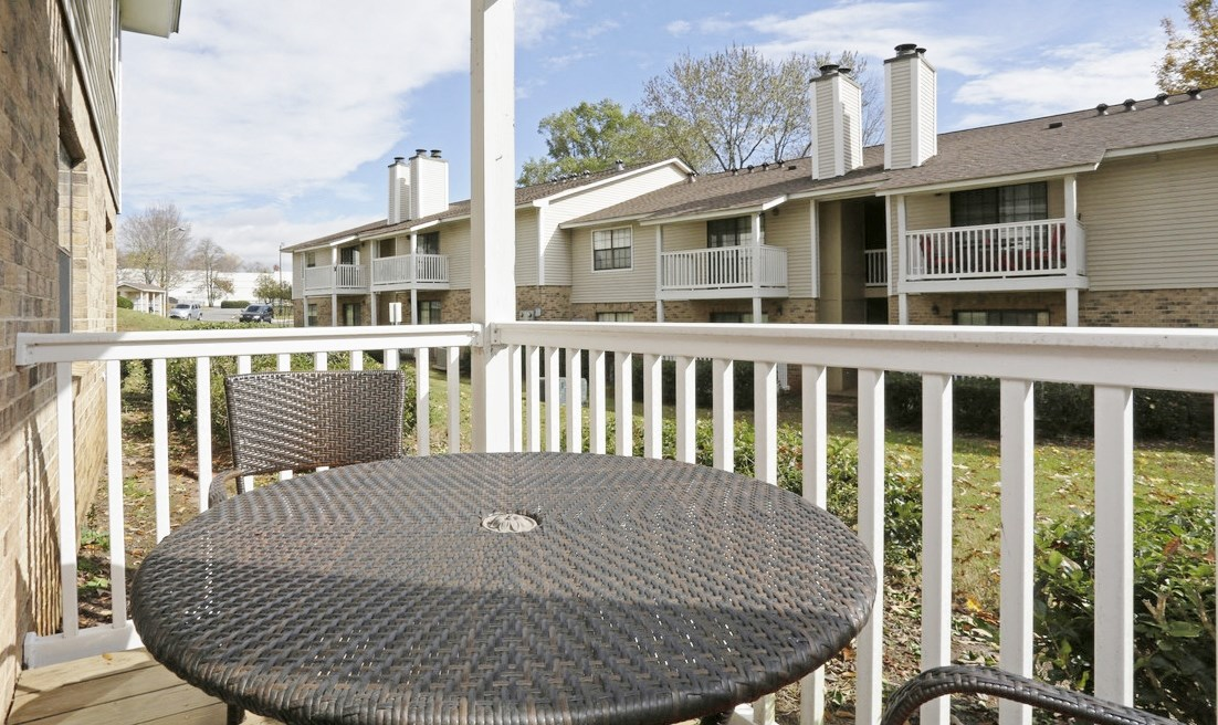 Private patio/balcony at Chimneys of Greenville apartment homes in Taylors, SC