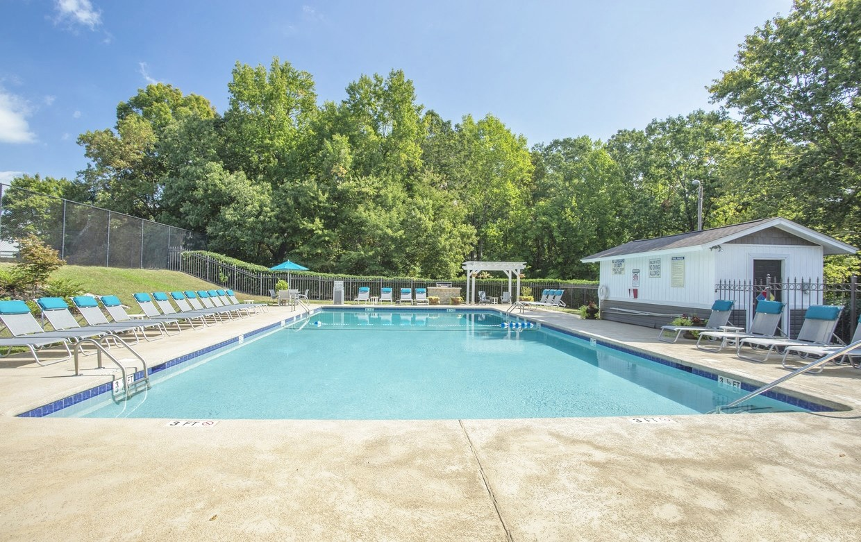 Sparkling swimming pool at Chimneys of Greenville apartment homes in Taylors, SC