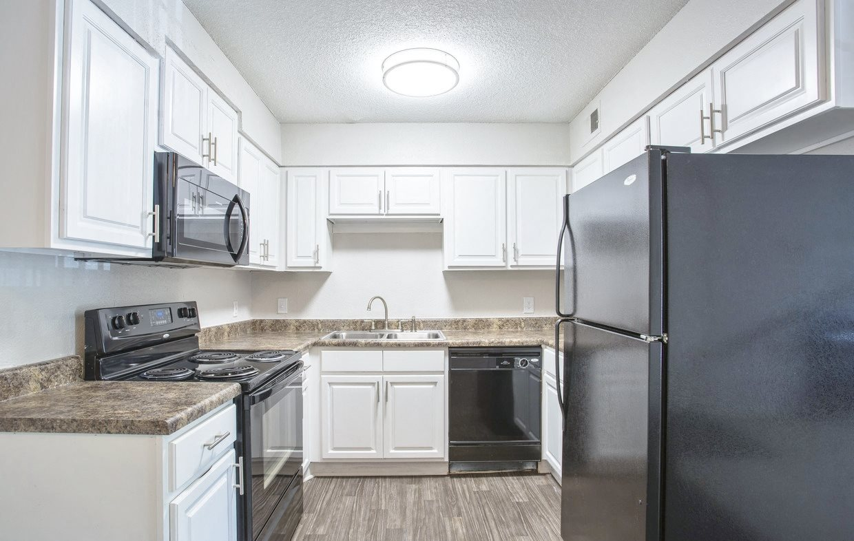 Spacious kitchen at Chimneys of Greenville apartment homes in Taylors, SC