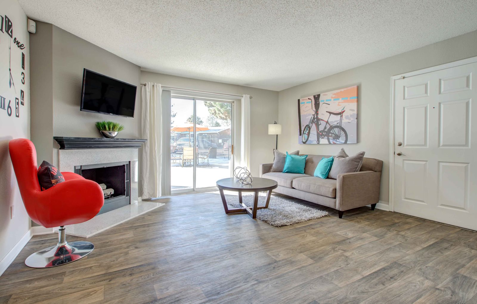 large living room area with nice flooring in colorado