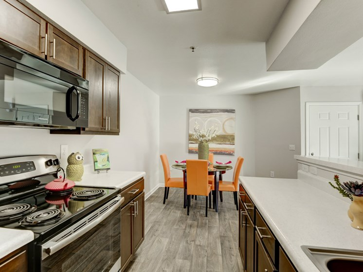 Kitchen with bright interior decoration for apartments in denver colorado