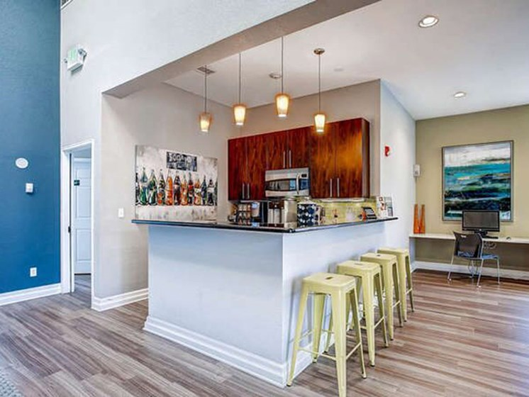 community kitchen area at apartment in lakewood
