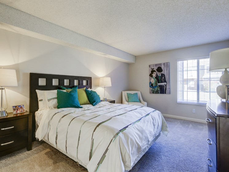 master bedroom view in apartment unit in lakewood co