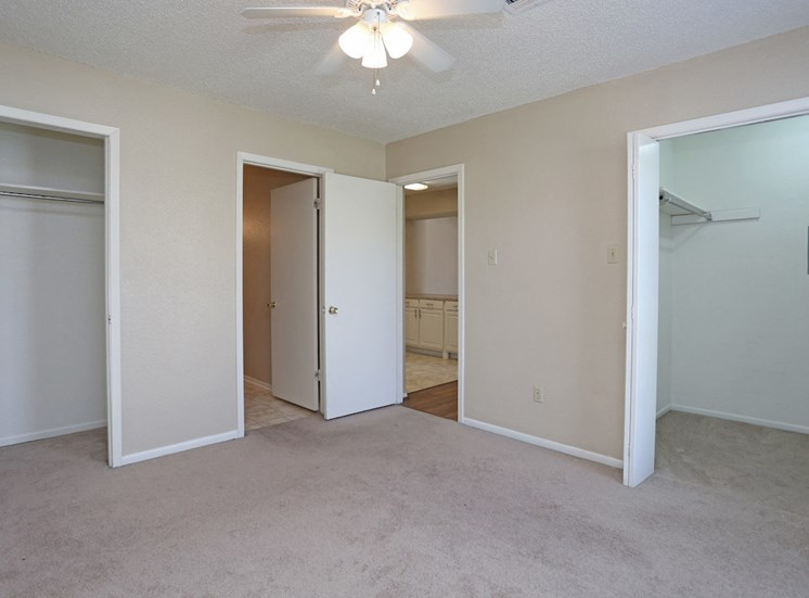 spacious bedroom with carpet, ceiling fan, and large closets
