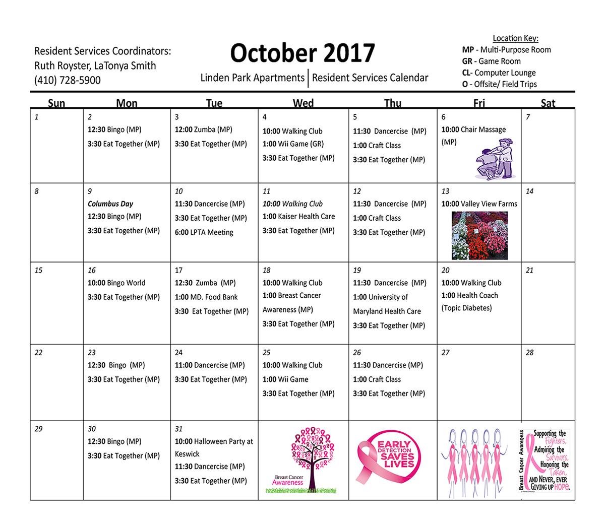 Linden Park October 2017 Activity Calendar