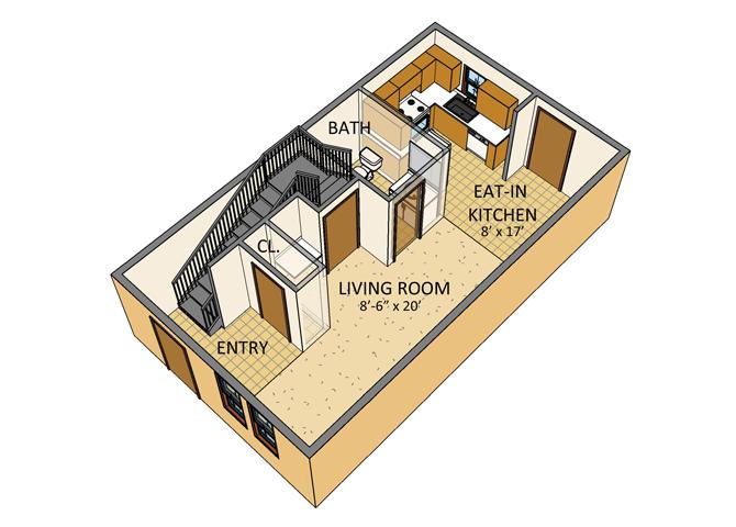 Ellicott Homes - 2 Bedroom Townhouse - 1st Floor Plan