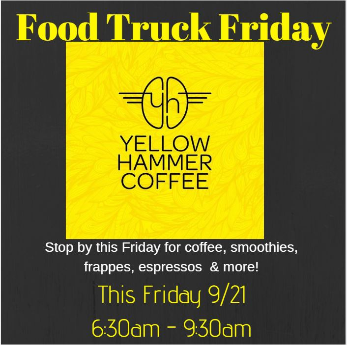 Good Mooooooooorning Charleston!  Wake up on Friday to soothe away your weekly pains with the delicious servings of Yellow Hammer Coffee.  6:30am - 9:30am at the bottom of the bus stop!