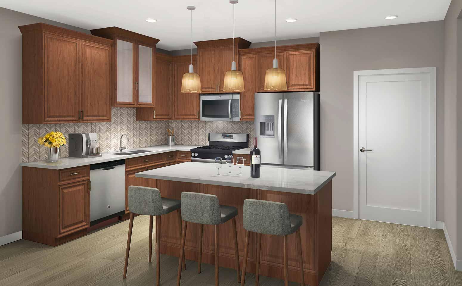 Summit design scheme with rich, cider wood cabinetry, herringbone backsplash and light quartz countertops