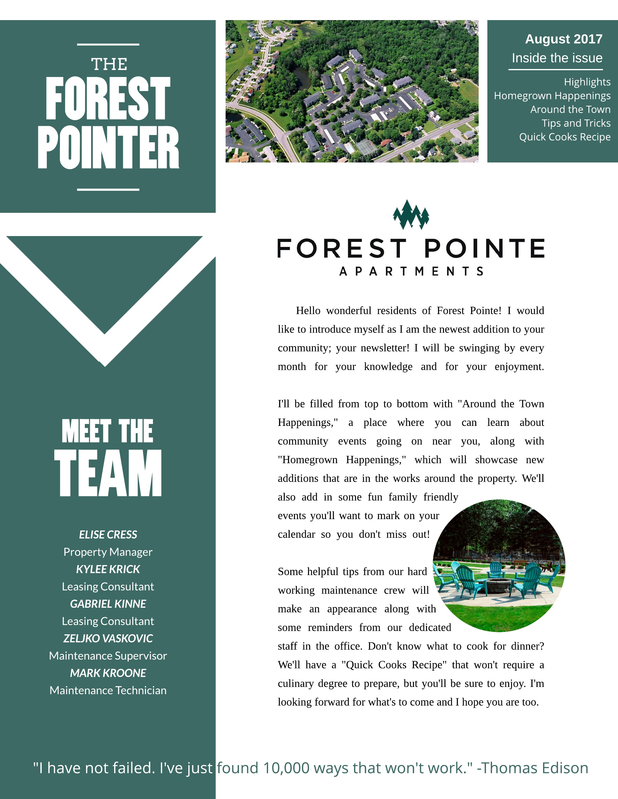 August 2017 Newsletter: The Forest Pointer