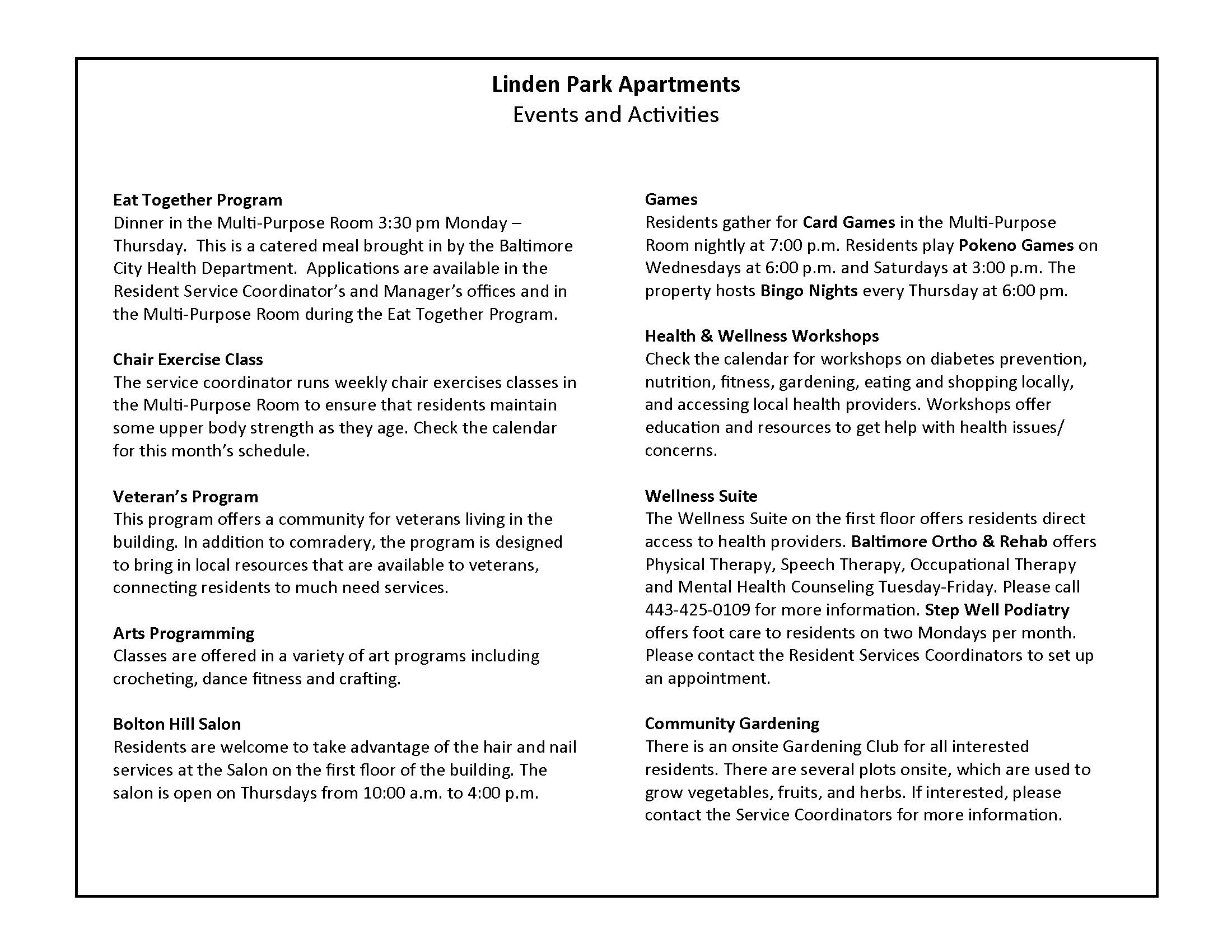 May 2018 Linden Park Apartments Activity Calendar