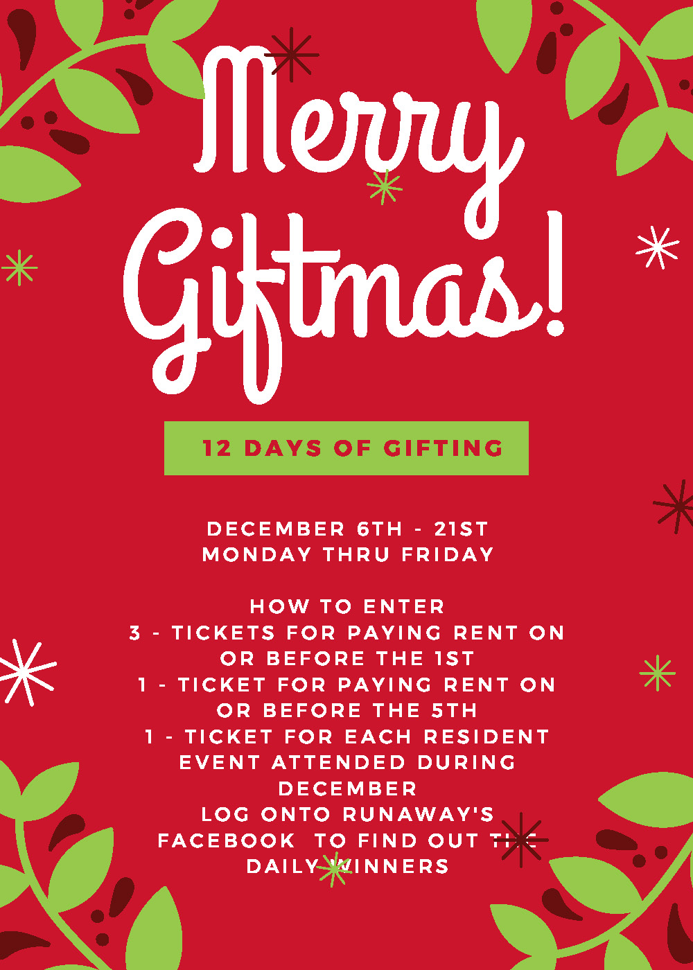 Merry Giftmas- 12 Days of Giving from December 6th-21st