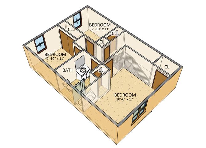 Ellicott Homes - 3 Bedroom Townhouse - 2nd Floor Plan