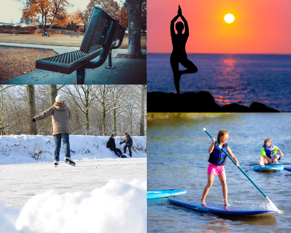 ice skating rink, public park, yoga in the park, paddle board rentals Monona Wi