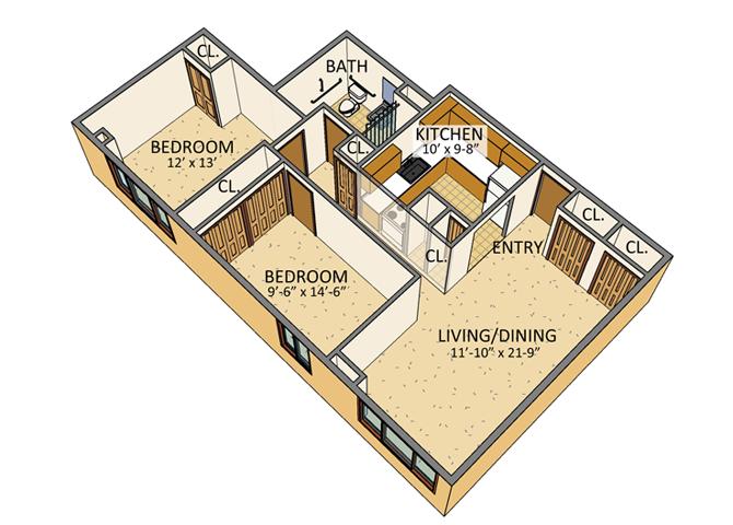 Westchester Park - 2 Bedroom Floor Plan
