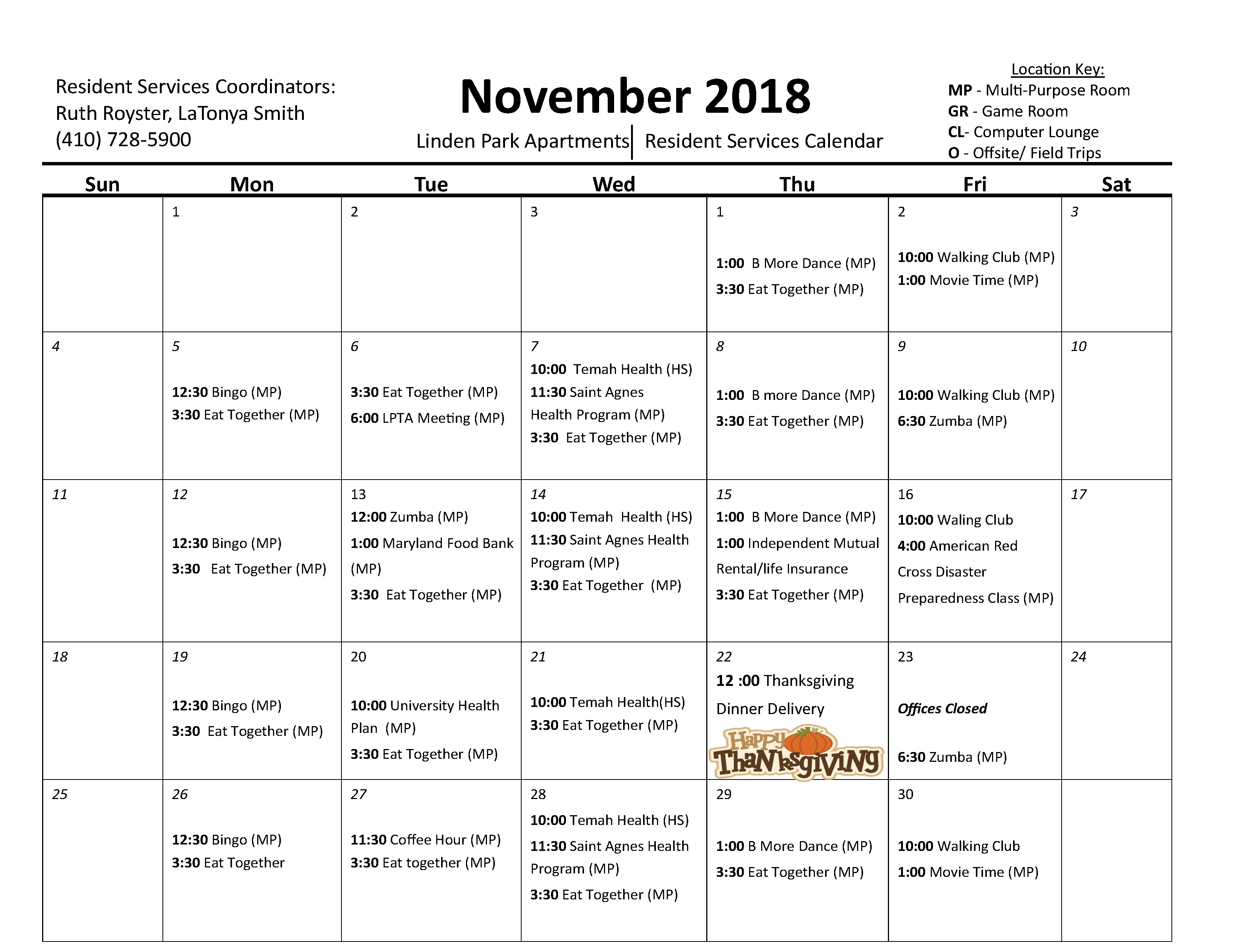 Linden Park Apartments November Activity Calendar