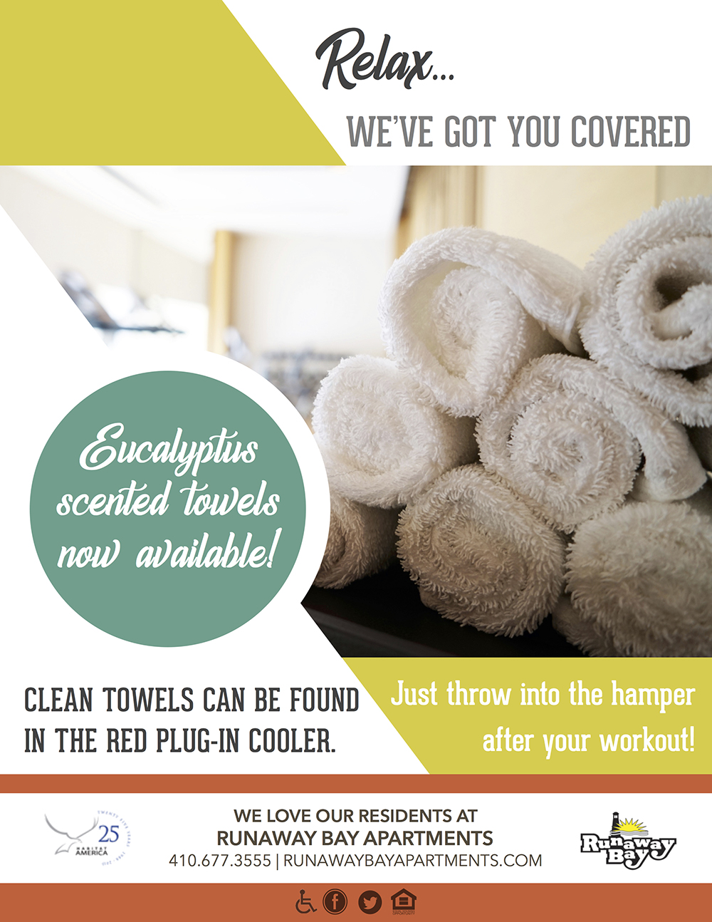 Runaway Bay Eucalyptus Towels in Fitness Center