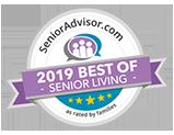 Pacifica Senior Living Modesto is a SeniorAdvisor.com 2019 Best of Senior Living Winner!