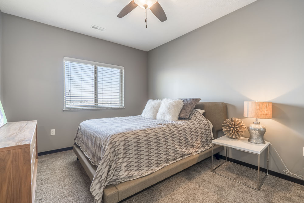 Furnished bedroom at The Flats at 84 apartments in Lincoln NE