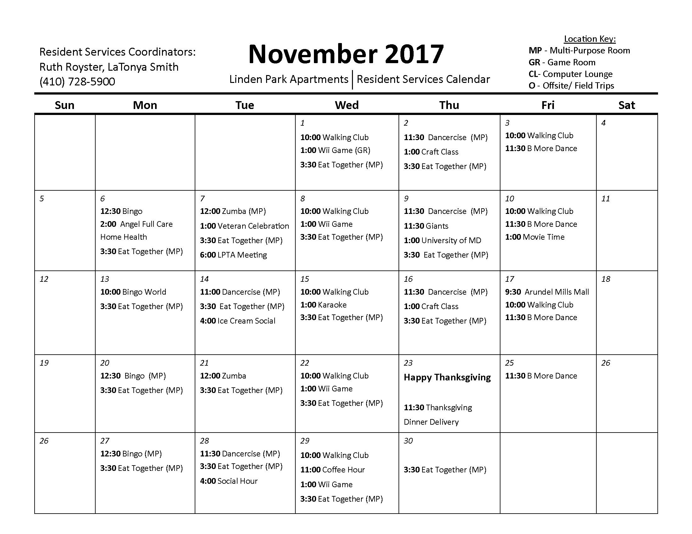 Linden Park Apartments November 2017 Calendar Page 1