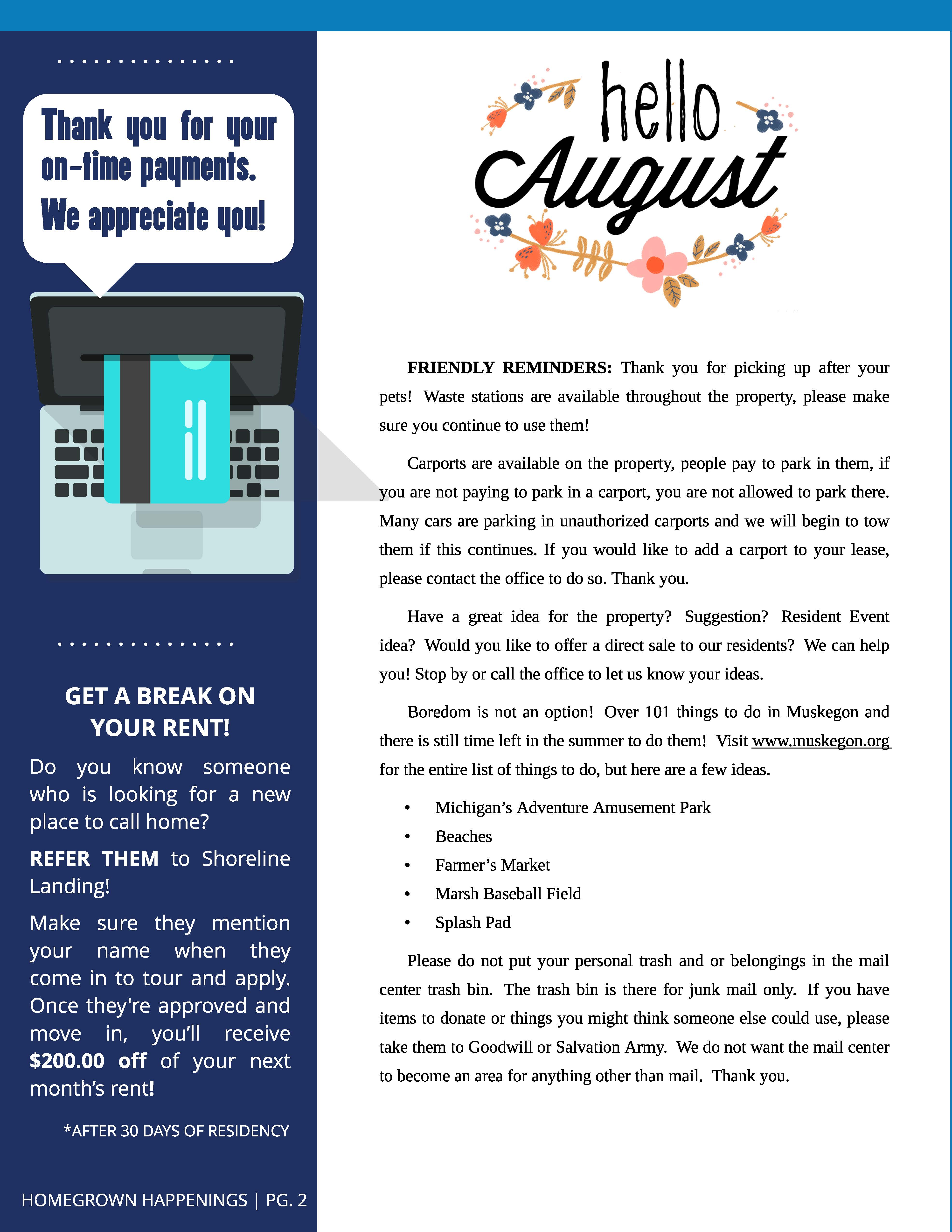 August 2018 Edition Newsletter Sline Landing Connection