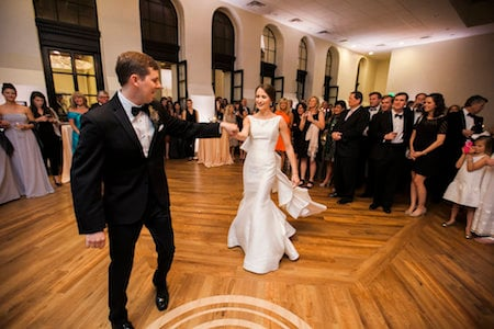 Event ballroom wedding reception at Thomas Jefferson Tower apartments in Birmingham, AL 35203