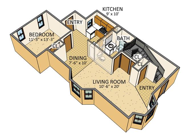 Ellicott Homes - 4 Bedroom Townhouse - 1st Floor Plan