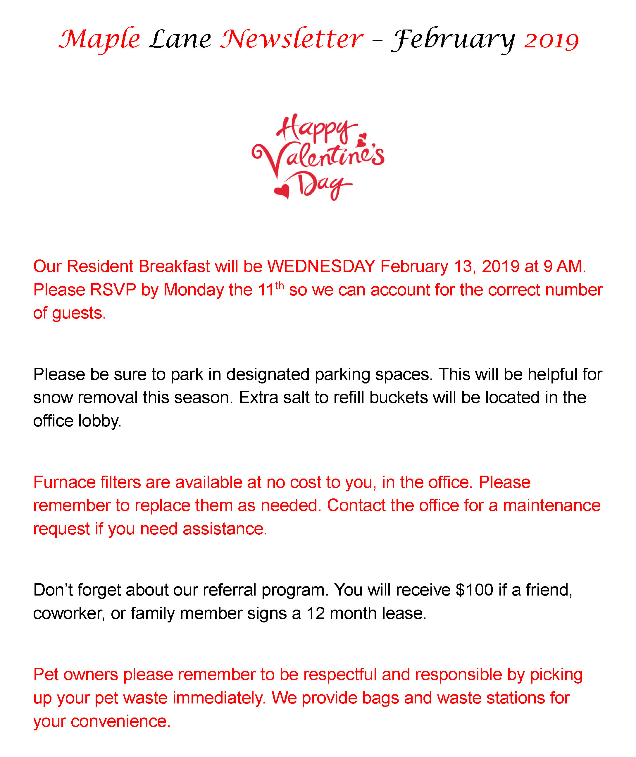Maple Lane February 2019  Tenant Newsletter