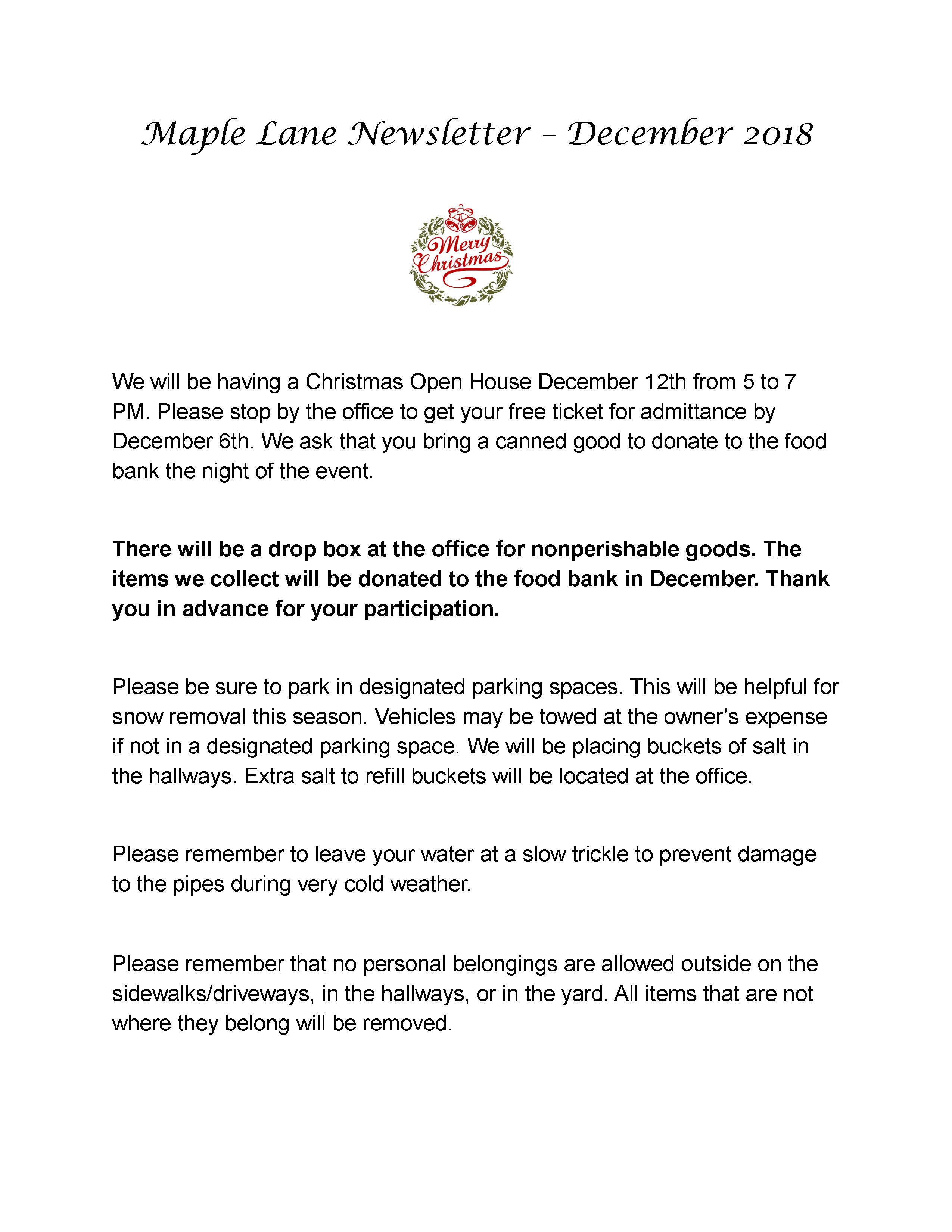 Maple Lane Newsletter - December 2018