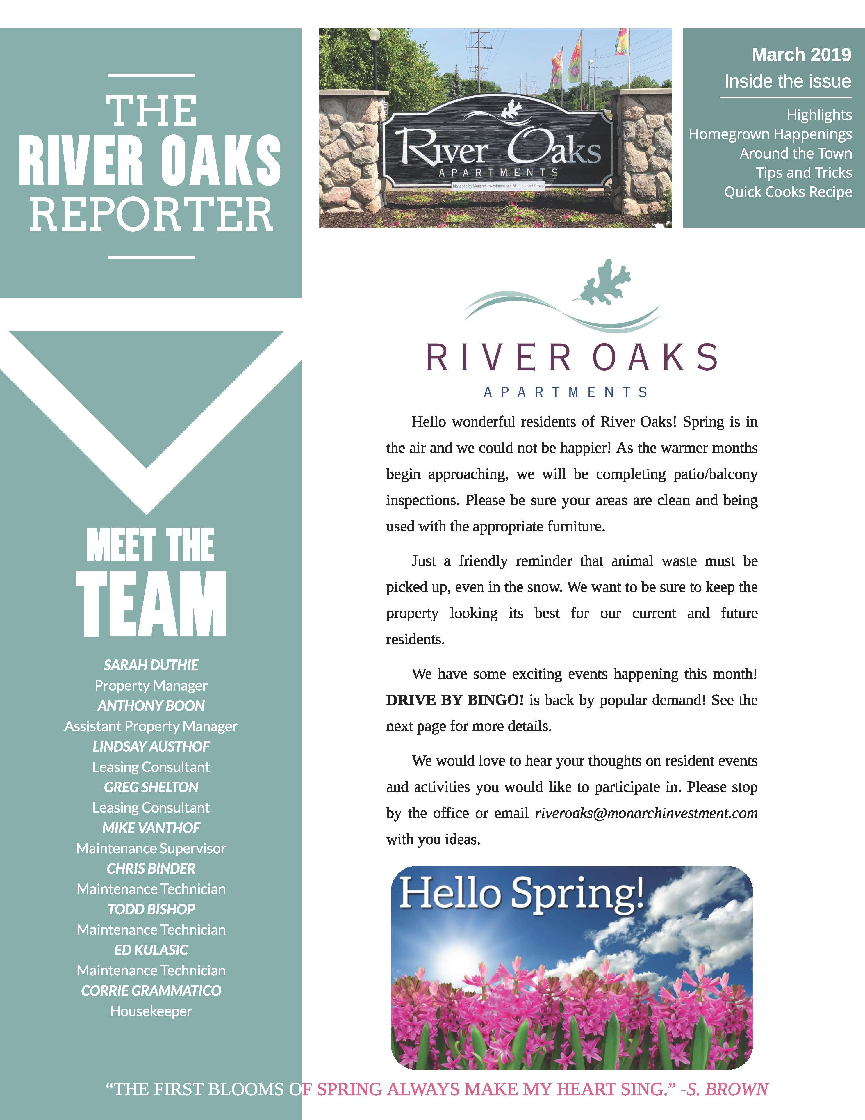 February 2019 Newsletter The River Oaks Reporter