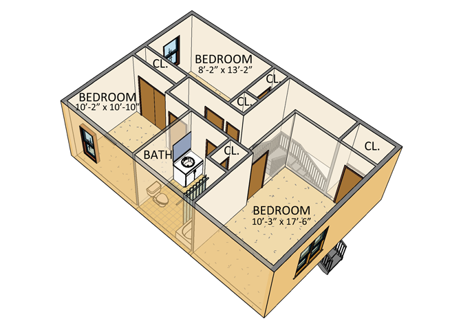 Ellicott Homes - 4 Bedroom Townhouse - 2nd Floor Plan