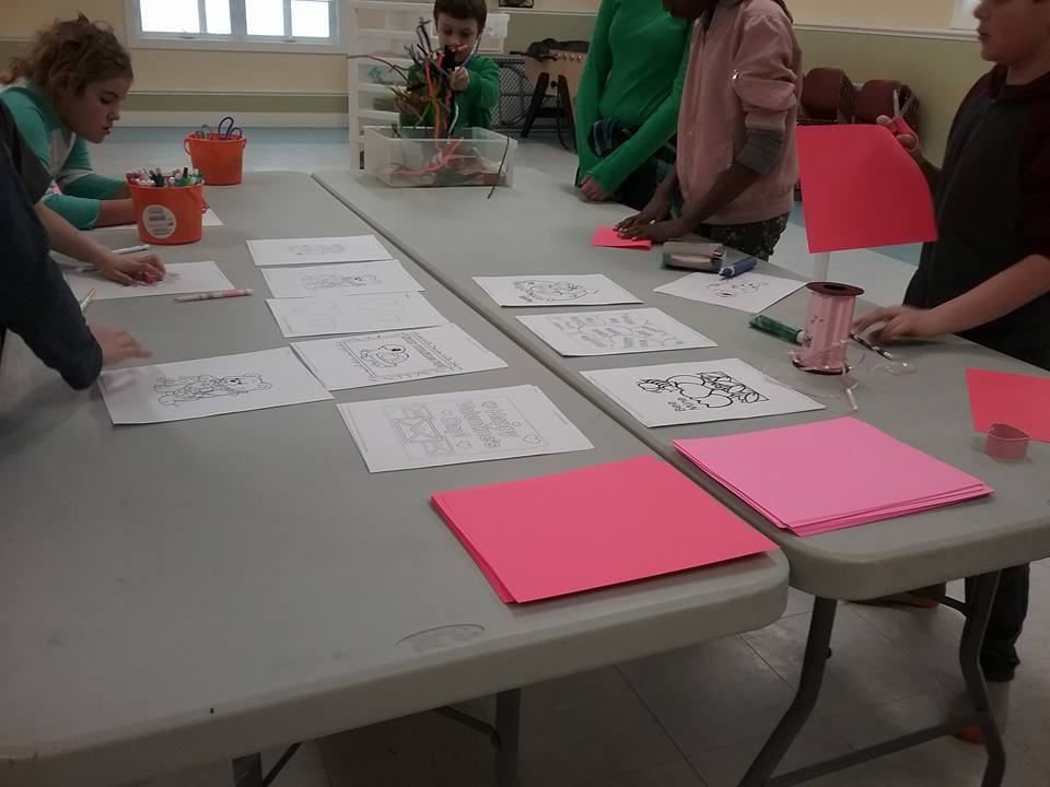 Northgate kids making Valentine's Day decorations