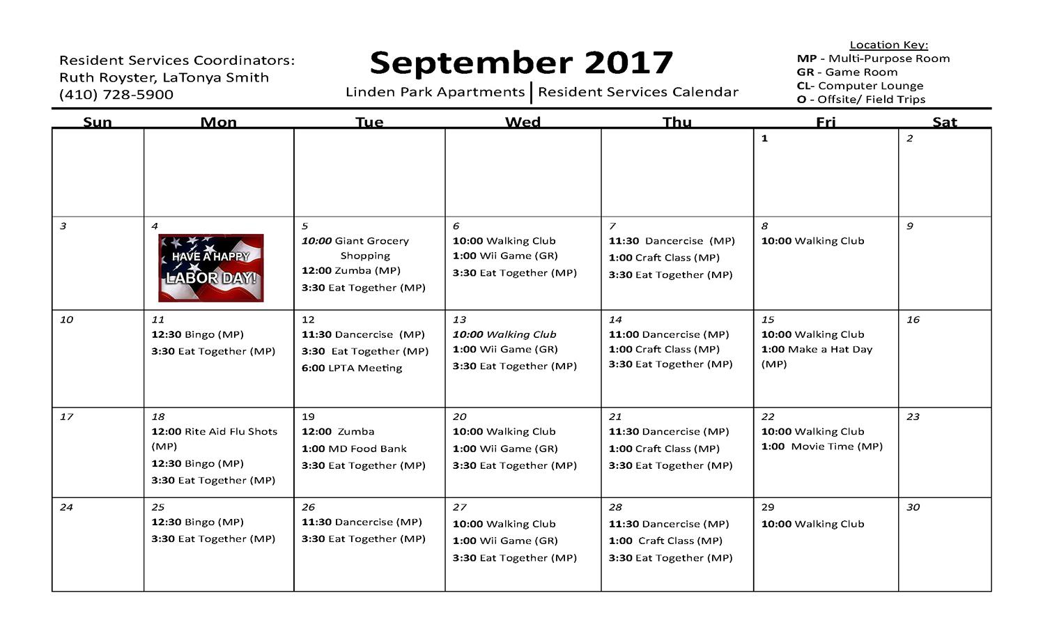 September 2017 Activity Calendar