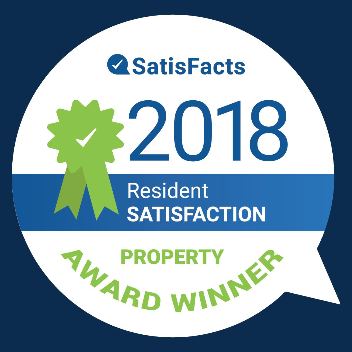 SatisFacts 2018 Resident Satisfaction Property Award Winner