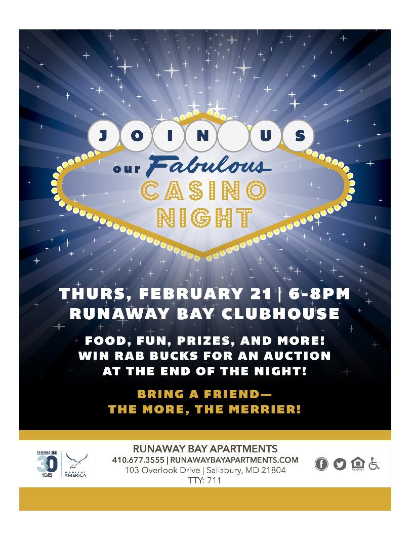 Runaway Bay Casino Night Flyer February 21