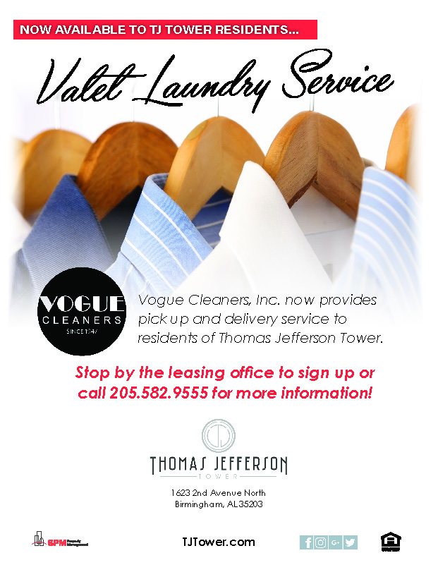 Thomas Jefferson Tower Birmingham, AL 35203 Valet Laundry Service with Vogue Cleaners