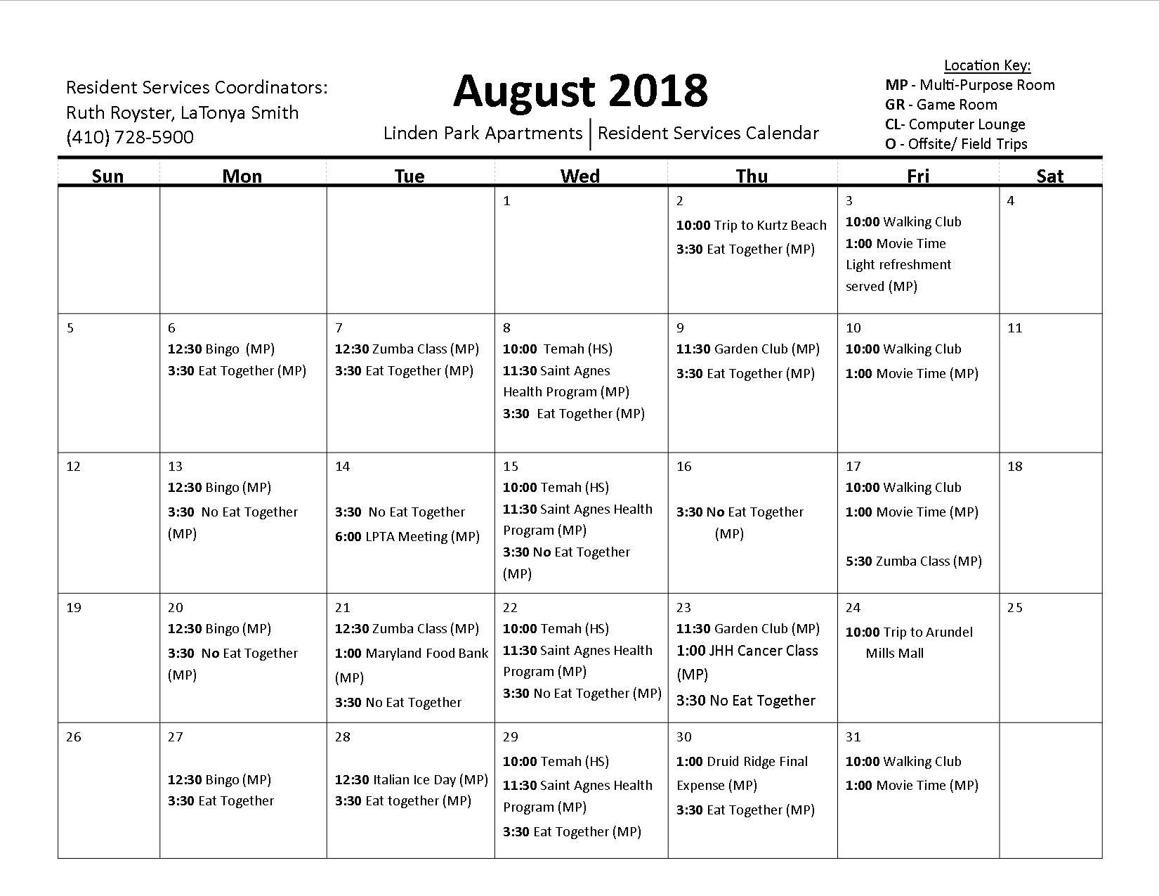 August 2018 Calender