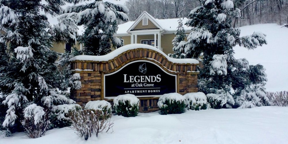 legends at oak grove apartments in knoxville snow covered neighborhood