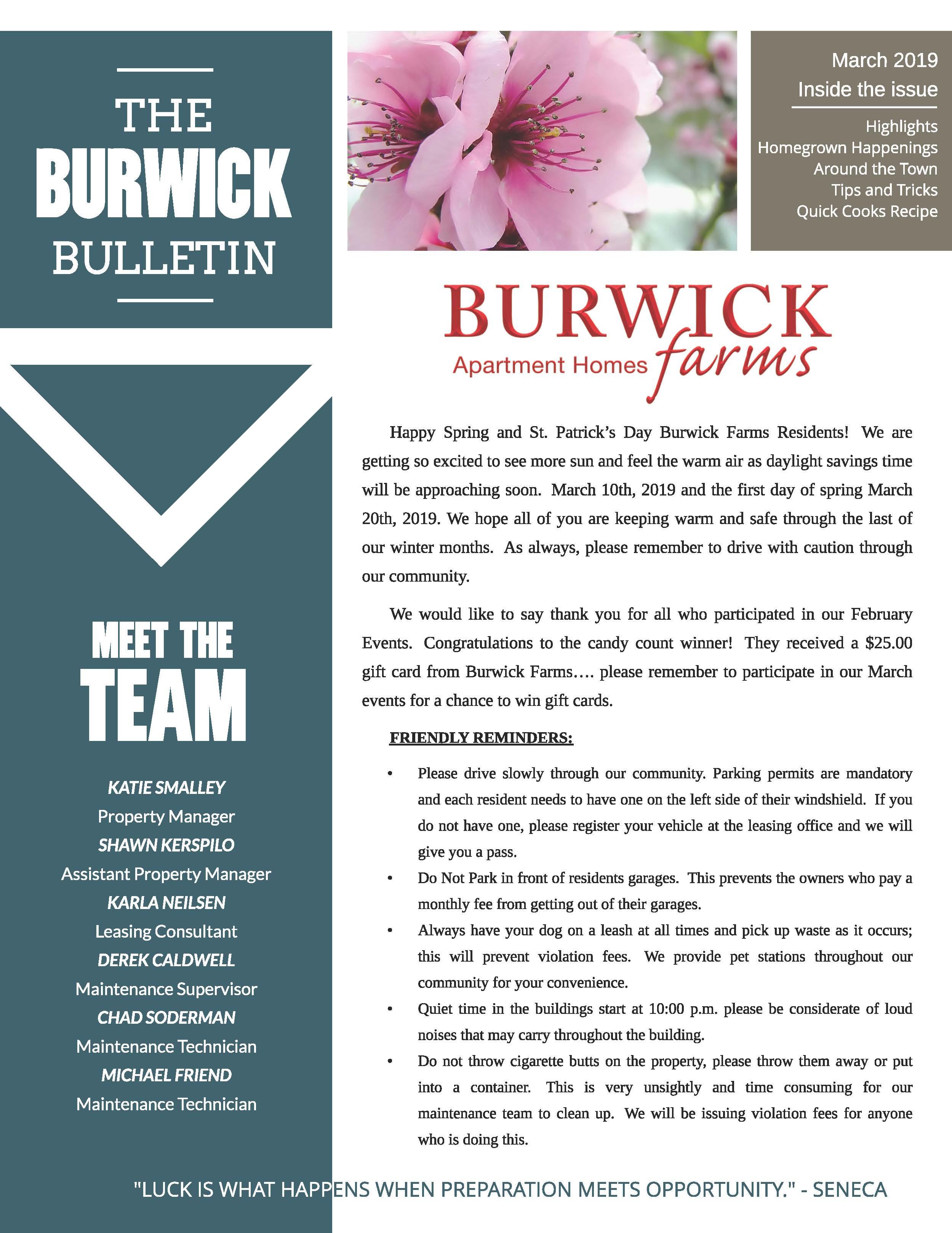February 2019 Newsletter The Burwick Bulletin