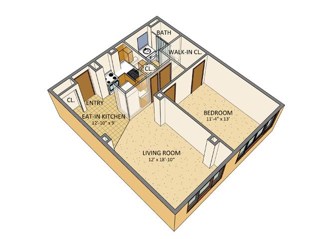 Westchester Park - 1 Bedroom Floor Plan