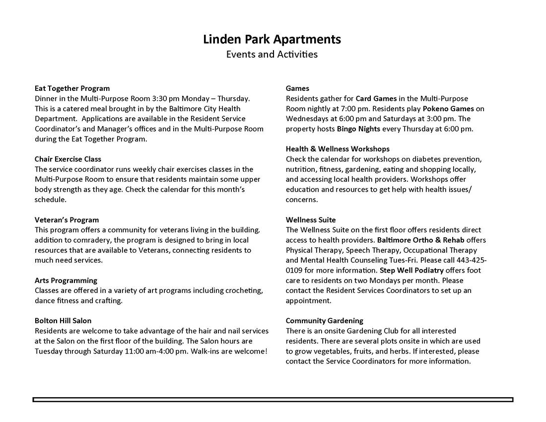 Linden Park Apartments July 2017 Events Descriptions