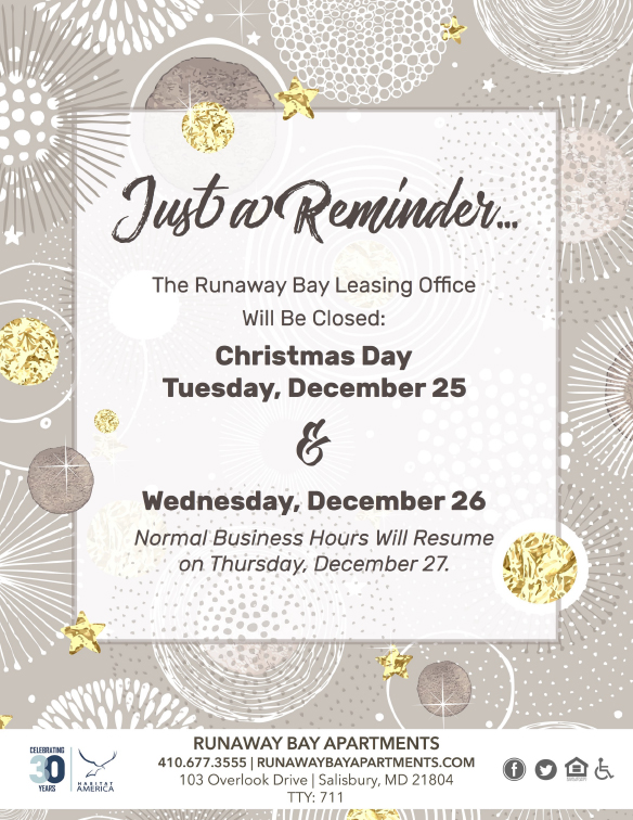 Reminder- Office will be closed Christmas Day and December 26