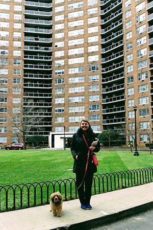 Corinne Conover and her dog Sonny at Parker Towers.