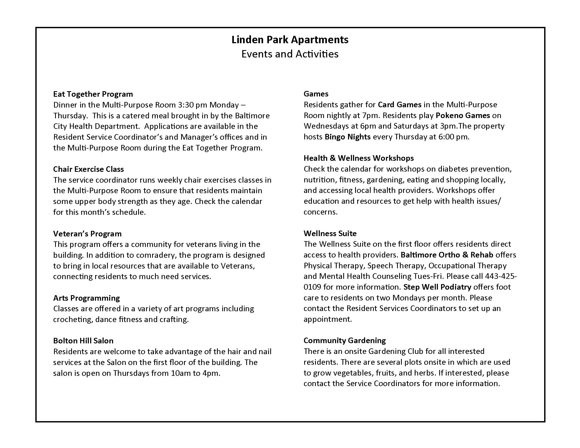 Linden Park Apartments Resident Services Activities Descriptions