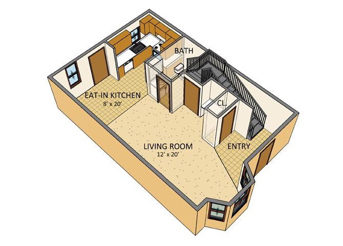 Ellicott Homes - 3 Bedroom Townhouse - 1st Floor Plan