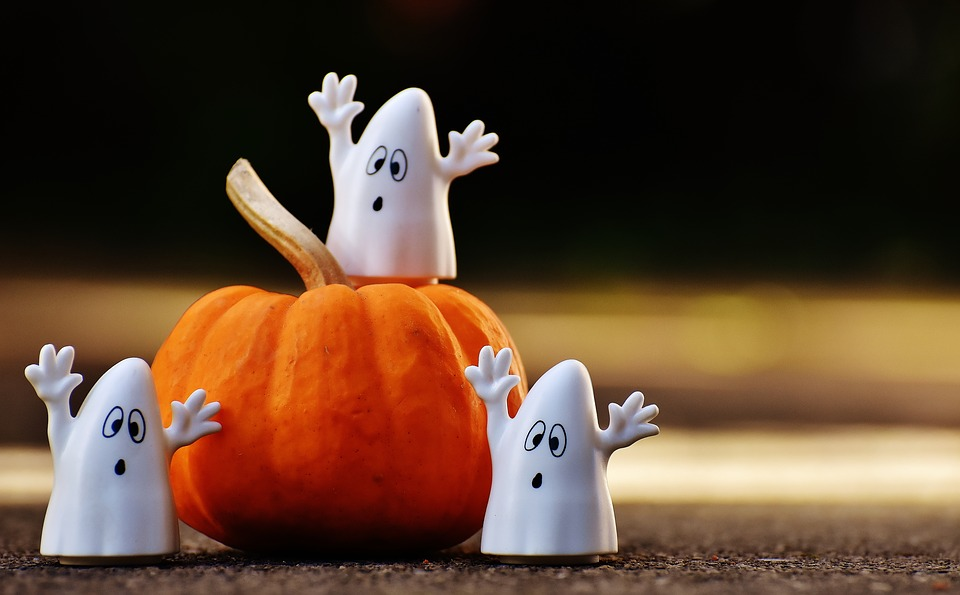 Toy Ghosts and Pumpkin