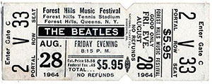 The Beatles concert ticket, Forest Hills Tennis Stadium, August 28, 1964