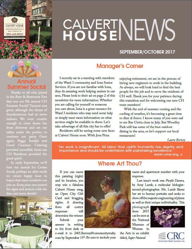 September/October 2017 Newsletter