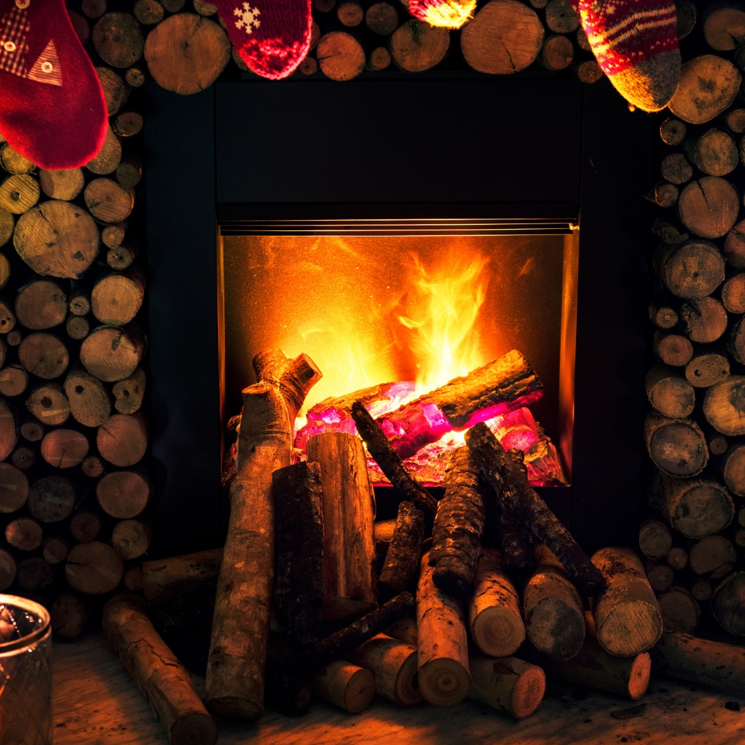 stocking hung over a fireplace