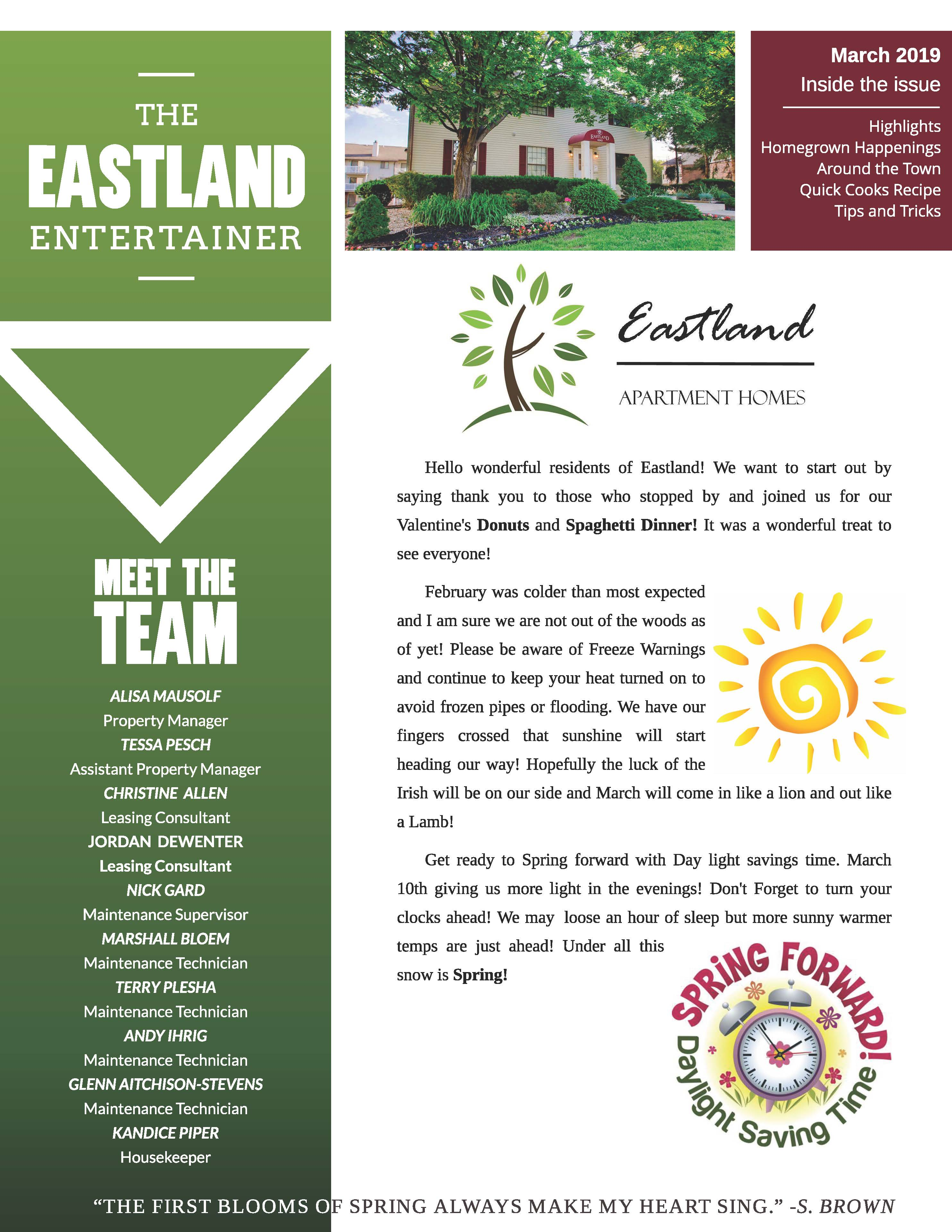March 2019 Newsletter The Eastland Entertainer
