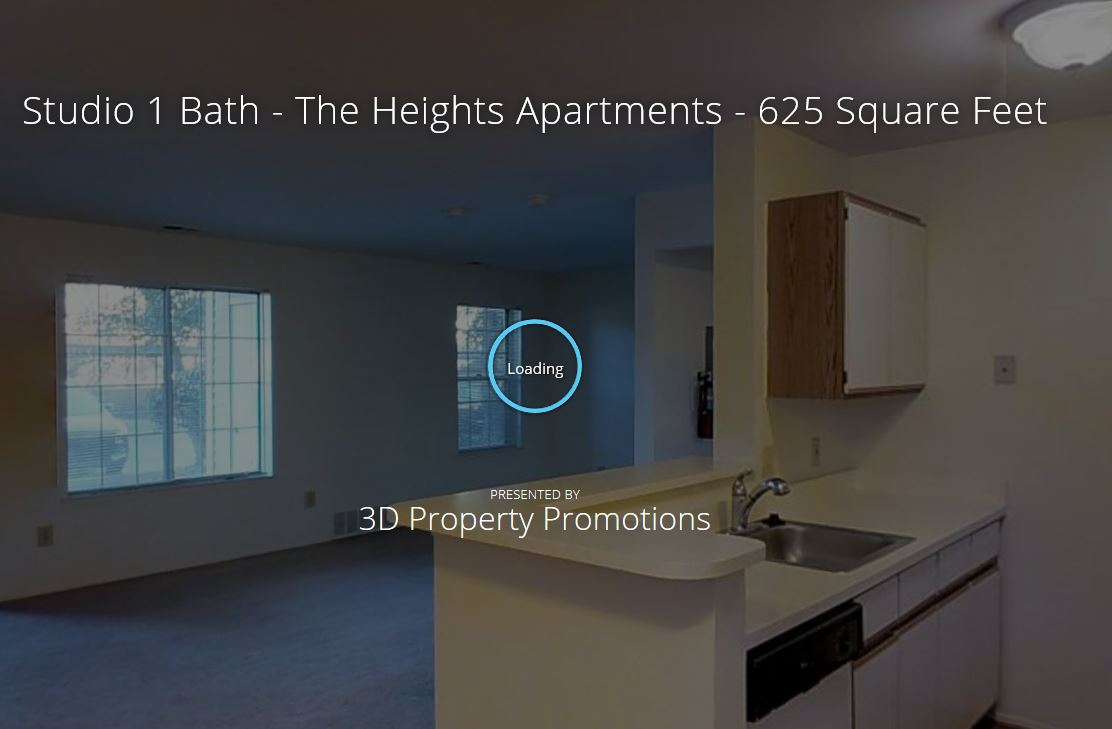 3D Tour of The Heights Studio Apartment Home